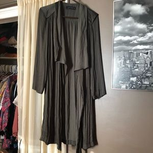 Zara olive green long kimono belted jacket - small